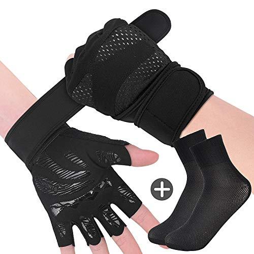 Rongli Trainingshandschuhe Kraftsport, Fitness Handschuhe Anti-Rutsch Gewichtheben Handschuhe für Damen und Herren mit Silikon Polsterun Atmungsaktiv (Black-L)