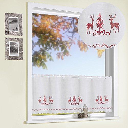 Scheibengardine Kreuzstich Stickerei HIRSCHE rot 45x115 cm auf Batist in natur COUNTRY CHIC Landhaus Panneau Gardine Weihnachten Bistrogardine ÖKOTEX Typ506