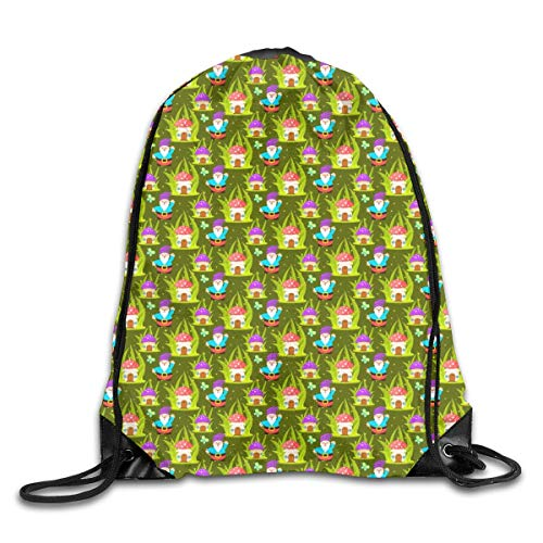 shenguang Forest Mushroom Home And Gnomes Drawstring Sports Backpack Gym Yoga Sackpack String Bag Travel Storage Sack For Women And Men Suitable For School Swim Running Beach Outdoor