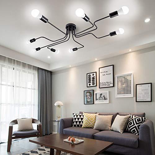 Yiwa smeedijzeren vintage LED plafondlamp woonkamer slaapkamer lamppara's voor de verlichting van het huis zonder lichtbron 6 zwart
