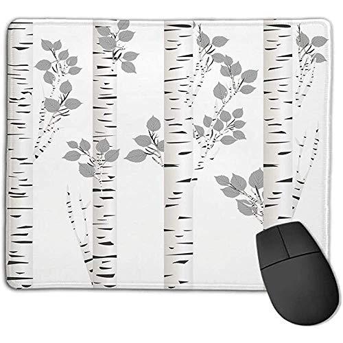 Muismat muismat berkenboom artistieke witte takken met bladeren herfst natuur bos geïnspireerd afbeelding grijswit ijs