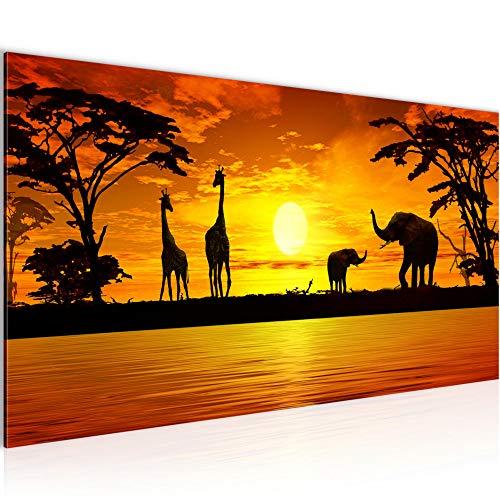 Wandbilder Afrika Sonnenuntergang 1 Teilig Modern Vlies Leinwand Wohnzimmer Flur Giraffe Elefant Orange 000212a