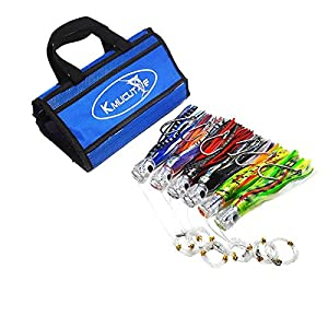 kmucutie Set of 6 pcs 9 inch Trolling Skirt Lures Marlin Tuna Dolphin Mahi Durado Wahoo . Included 9 inch Big Game Fishing Lures and Free Mesh Bag