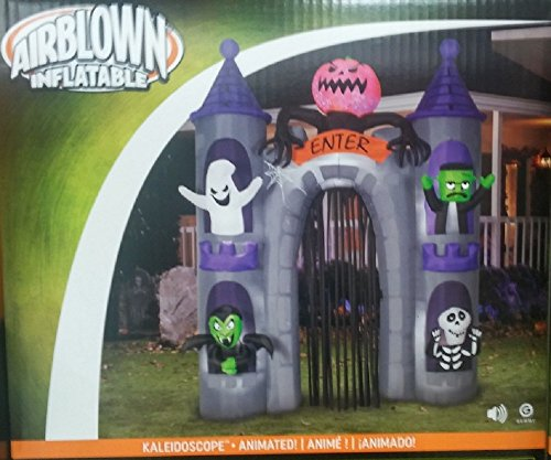 halloween inflatable 9 12 ft monster castle archway with animated projection kaleidoscope pumpkin head