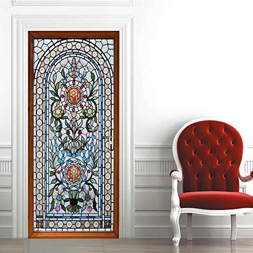 LUCKYYY Milieuvriendelijke 3D deur stickers Slaapkamer waterdichte PVC stickers Home decoratie, glas in lood deur, 30.3x78.7 inch