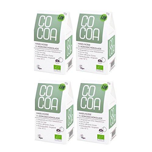 Raw Cocoa Bio Schokonüsse Haselnüsse in Kokosschokolade, 4 x 70 g | Hergestellt aus Rohen Ungerösteten Kakaobohnen bei unter 45 °C | Sorgfältig mehr als 60 Stunden Conchiert | mit Kokosblütenzucker Gesüßt | Vegan, Glutenfrei, Laktosefrei, Roh