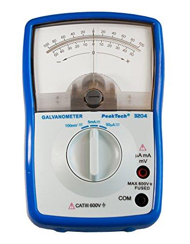 PeakTech Analog Galvanometer +/50mA; +/5mA; +/100mV; Cat III 600V; Stromstärkemesser/ Stromrichtungsmesser mit Drehspulmesswerk und Speigelskala, 1 Stück, P 3204