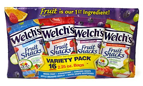 Welch's Variety Pack Bags of Fruit Snacks -  5 flavor 16 pack, 2.25 oz