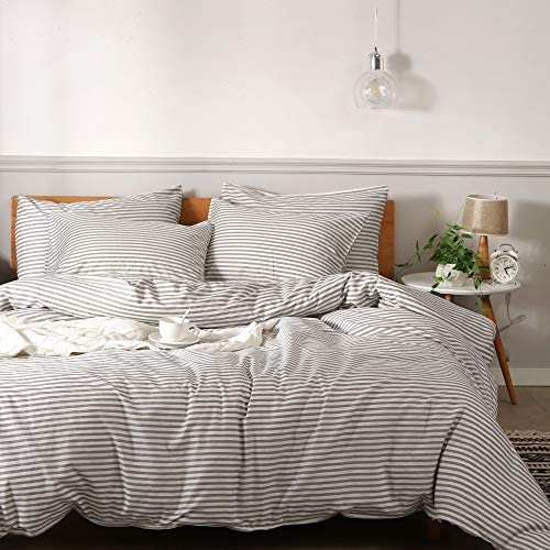 JELLYMONI 100 Natural Cotton 3pcs Striped Duvet Cover Sets White Duvet Cover with Grey Stripes product image