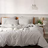 JELLYMONI 100% Natural Cotton 3pcs Striped Duvet Cover Sets,White Duvet Cover with Grey St...
