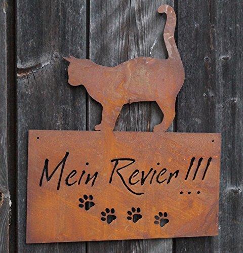 Edelrost Schild mit Katze Mein Revier 42x35cm Wandschmuck Gartendekoration Tafel