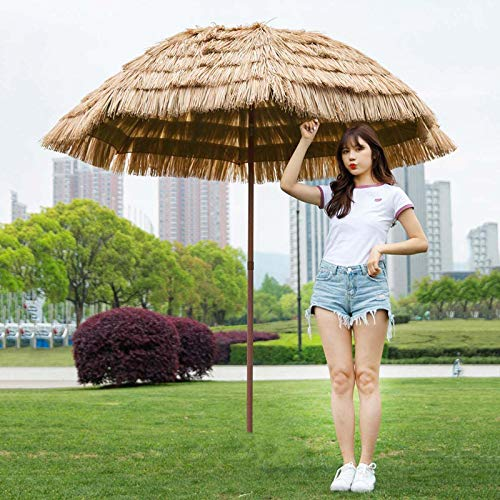 Sombrilla De Paja, Protección UV Sombrilla De Jardín Y Terraza, Sombrilla Impermeable Al Aire Libre para Sombrillas De Patio De Piscina De Jardín Redonda con Función De Inclinación (6.5ft)