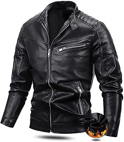 LILIXINGSH Chaquetas de Moto Cola de Motocicleta de Cuero for Hombre Soporte con...