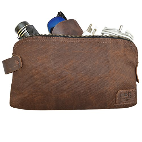 Hide & Drink, Waxed Canvas Large All Purpose Dopp Kit Utility Bag, Toiletry Bag, Zippered Carry On Pouch, Travel & Commute Essentials, Handmade Includes 101 Year Warranty :: Honey Bourbon