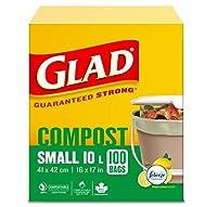 うれしい100%堆肥バッグ - 10リットル - レモンの香り、100ゴミ袋