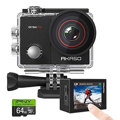 AKASO EK7000 Pro 4K Action Camera + PNY Elite-X 64GB U3 microSDHC Card (Bundle)