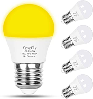 Bug Light Bulb Yellow LED Bulbs A15 Amber Outdoor Front Porch Lights Bedroom Night Light Bulb 40W Equivalent E26 Warm Hallway Lighting Decorative Lamps 5W 2000K (4 Pack)