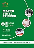 True-Ally Matte Vinyl Self-Adhesive Waterproof, Instant Dry, Tear Resistant Photo Paper for Inkjet Printer Sticker (White) A4-25 Sheets