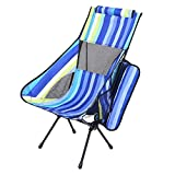 olyee Upgraded Portable Camping Chair, Ultralight Folding Backpacking High Back Camp Lounge Chairs with Nylon Mesh and Headrest and Pocket for Picnic Beach Hiking Fishing Traveling(Blue stripes)