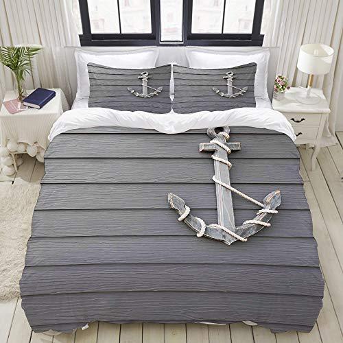 MOBEITI Bedding Bettwäsche-Set,Holz Anker mit dem Seil an der Wand Antik Navy Natur Abenteuer unter dem Motto Art,Mikrofaser Bettbezug und Kissenbezug - (160 x 220 cm)
