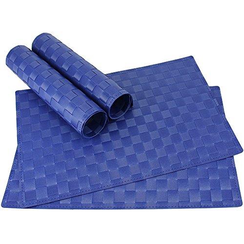 matches21 Tischset Platzset MODERN Platzmatten 4er Set geflochten Kunststoff 45x30 cm Blau/abwaschbar/erhältlich in vielen aufregenden Farben Platzdeckchen vom Tischwäsche Spezialist