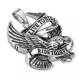 Colgante de biker con diseño de Live to Ride águila de acero quirúrgico cromado