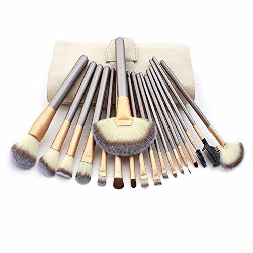 Maquillage Brush-24Pcs Avancée Cosmétique Maquillage Brush Set Fondation Blend Blush Concealer Ombre À Paupières Brosse Synthétique Fiber Voyage Maquillage Sac Champagne Maquillage Brosse Set,18