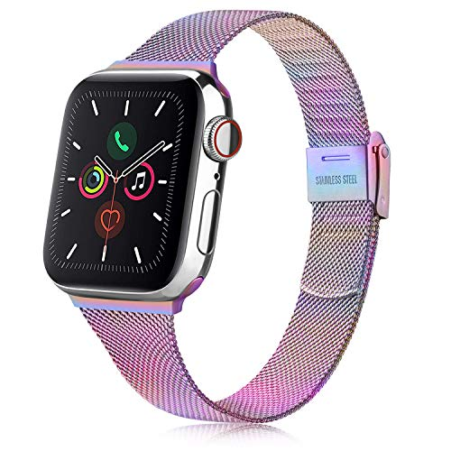 Senka Metal Correa Compatible con Apple Watch 38mm 40mm 42mm 44mm, Pulsera de Repuesto de Hebilla Ajustable Acero Inoxidable Fina Correa para iWatch Series SE 6 5 4 3 2 1 (42mm/44mm, Vistoso)