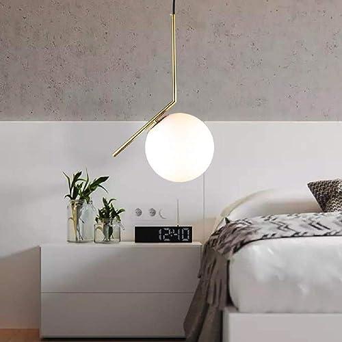Plafonnier luminaire moderne design éclairage plafond Lustre en verre lampe suspendu rond E27 Lampe de chevet Diamètre 20cm