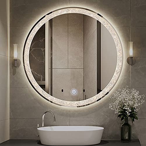 Chende Crystal LED Bathroom Mirror, 28 Inches Round Makeup Mirror with Lights for Bathroom Vanity with a Plug, Unique Shining Starlight Effect, 3 Different Light Temperatures Setting