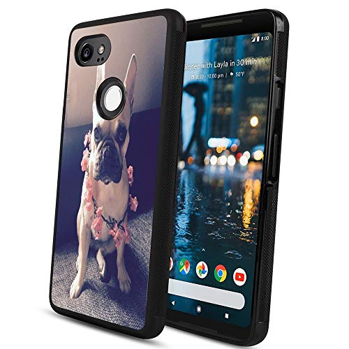 Pingge Google Pixel 2 Case French Bulldog with Pink Flowers Slim Rectangle Full Body Shockproof Protective Cellphone Case Black Frame Case for Google Pixel 2