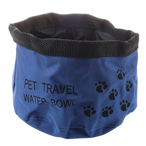 SODIAL(R) Comedero Bebedero Portatil Color Azul para Perro Gato Mascotas