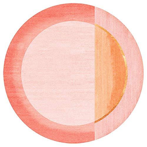 Miwaimao - Alfombra de estilo nórdico, diseño redondo, color rosa, rojo, amarillo, para salón, salón, dormitorio, sillón, tocador, 160 cm, 120 cm