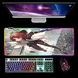 Alfombrilla De Ratón Grande para Juegos RGB Alfombrilla De Ratón Extendida Led para Dos Niñas,Alfombrillas De Ratón Extra Largas para Teclado De Computadora con 14 Modos De Iluminación B 700X300Mm