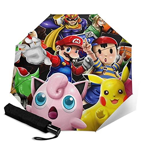 Super Smash Bros Kirby Pikachu Mario Paraguas plegable automático de cierre abierto ligero compacto portátil Sun Travel Tri-fold paraguas unisex