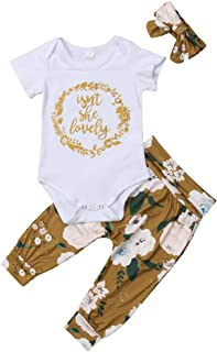 Isnt She Lovely 0-18M Infant Newborn Baby Girl Short Sleeve Cotton Bodysuit Tops Floral Pant Headband