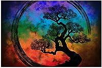新しいJSCTWCL円相禅サークルと盆栽ツリー星雲パズル500ピース木製大人のジグソーパズル色子供のための抽象絵画パズル教育玩具ギフト
