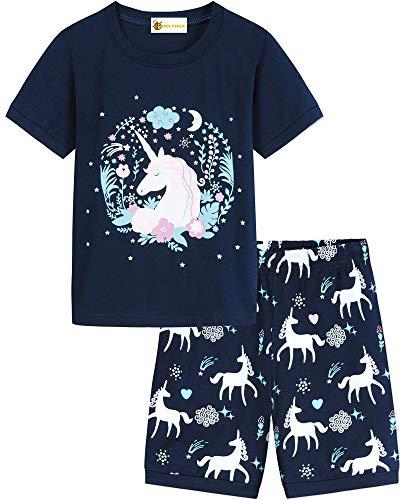 MOLYHUA Mädchen Schlafanzug Einhorn Pyjama Kurz Schlafanzüge für Kinder 92 98 104 110 116 122