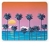 Spiel Mauspad,Mausmatte,Summer Mouse Pad,Strandlandschaft Am Meer Unter Der Sonne Palm Trees Island Tropical Holiday Coastal,Matte Mäuse Mousepad Gaming Mouse Pads Für Büro & Zuhause,Mehrfarbig