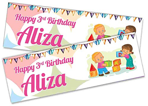 x2 Personalised Birthday Banner KIds Design Children Kids Party Decoration Poster 21 (Small-3ftx1ft.)
