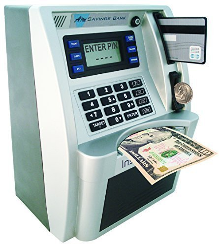 ATM Toy Savings Bank with Motorized Bill Feeder, Coin Reader and Balance Calculator (Black/Silver)