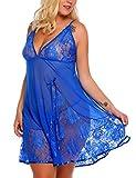 ADOME große Größen Sexy Unterkleid Damen Spitze Kurz Unterröcke Negligee Kleid Lingerie...