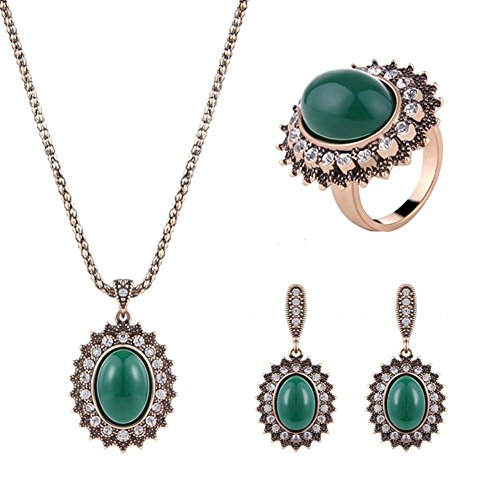 Mode legering inlay boren high-end driedelige partij mode ketting Oorbel Ring Sieraden Set
