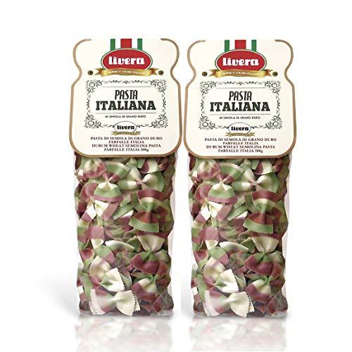 Livera Farfalle Italia 2 x 500 Gr, Pasta Corta di Semola di Grano Duro 100% Made in Italy, Pasta Tricolore, Farfalle Artigianali, Pasta Corta Italiana di Alta Qualità, Pasta Secca Artigianale