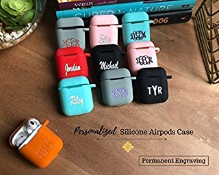 Silicone Airpods case, Custom Airpods Case, Monogram gift, Airpods case, Black Airpods Case, Personalized Airpods Case Keychain, Ships in 3-5 Business Days