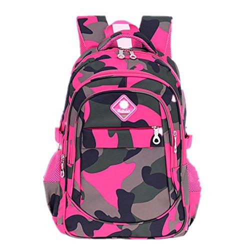 Bom Bom Ninos Ninas Mochila Escolar Camouflage Impermeable para Estudiante (Camo-Fucsia)