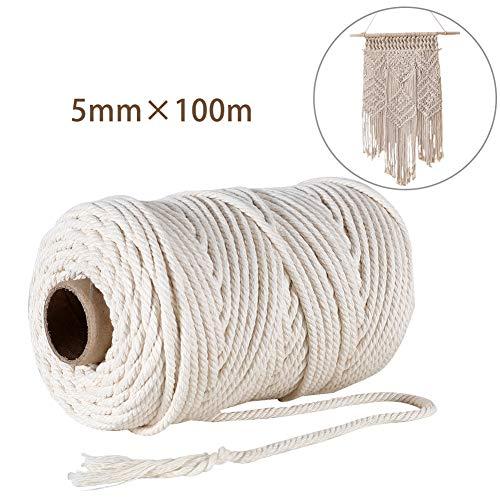 GoMaihe Macrame Cuerda, 5mm x 100m Cordón Hilo de Algodón