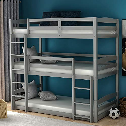 Wood Triple Bunk Beds for Kids Toddlers Twin Size 3 Bunk Bed Frame with Built-in Ladders, Gray Bunk