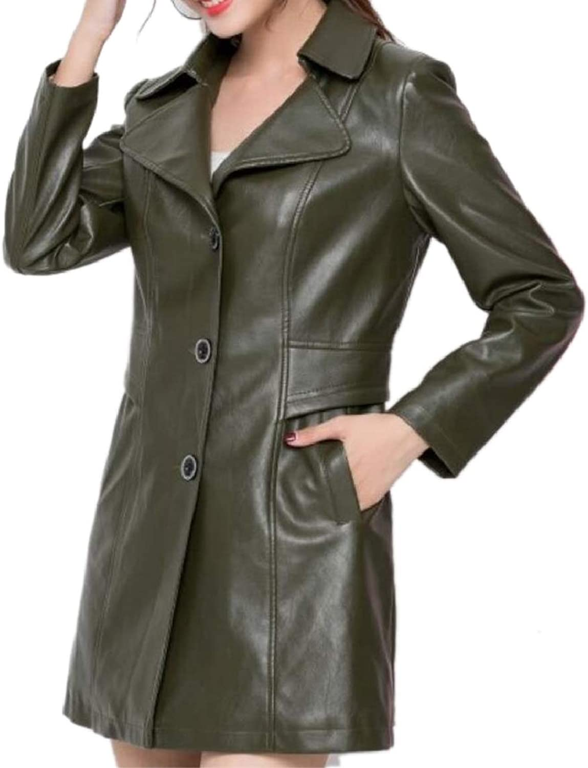 PujinggeCA Women Single Breasted Slim Fit Faux Leather Casual Trenchcoat Jacket Coat