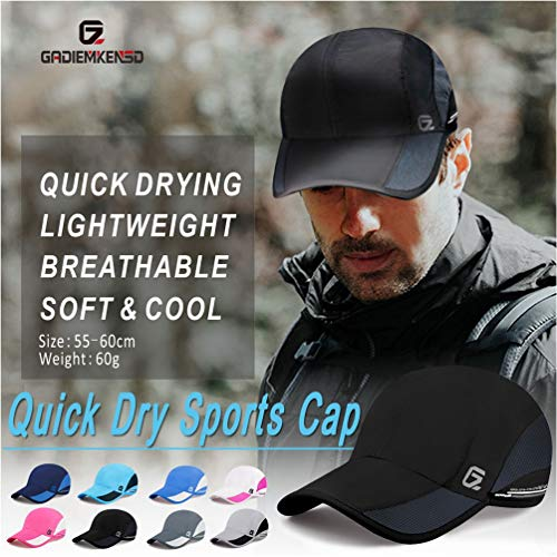 GADIEMKENSD Quick Dry Sports Hat Lightweight Breathable Soft Outdoor Running Cap Baseball Caps for Men (Sky Blue) - 6